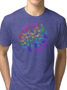 Butterfly rainbow color in a circle on black Tri-blend T-Shirt