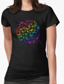 Butterfly rainbow color in a circle on black Womens Fitted T-Shirt