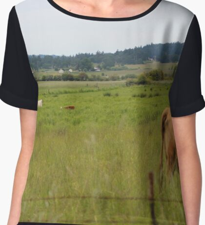 Cows in a field Chiffon Top