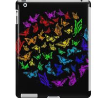 Butterfly rainbow color in a circle on black iPad Case/Skin