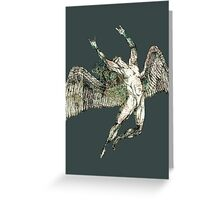 ICARUS THROWS THE HORNS - antique grunge Greeting Card