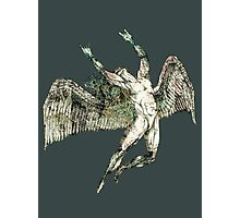 ICARUS THROWS THE HORNS - antique grunge Photographic Print