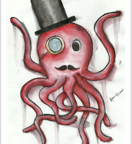 Sir Octopus in Watercolor Sticker