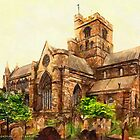 A digital painting of the Cathedral, Carlisle, England by Dennis Melling
