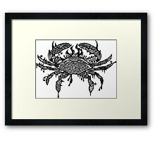 Crab #1 Black and White Doodle Art Framed Print