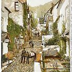 A digital painting of The High Street, Clovelly, England 19th century by Dennis Melling