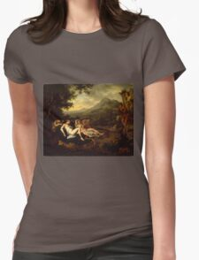 Willem Van Mieris - Cimon And Iphigeniapanel 1698 . Woman portrait: sensual woman, girly art, female style, pretty women, femine, beautiful dress, cute, creativity, love, sexy lady, erotic pose Womens Fitted T-Shirt