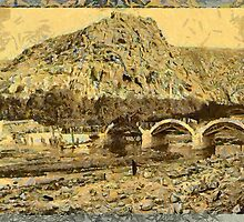 A digital painting of The First bridge over Dog River, Lebanon by Dennis Melling