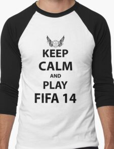 Keep Calm And Play Fifa 2014 Men's Baseball ¾ T-Shirt