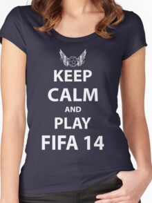Keep Calm And Play Fifa 2014 Women's Fitted Scoop T-Shirt