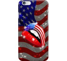 USA Flag Lipstick on Sensual Lips iPhone Case/Skin