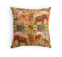 African style seamless pattern with elephant background Throw Pillow