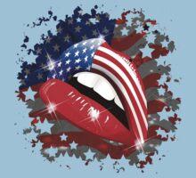 USA Flag Lipstick on Sensual Lips Kids Clothes