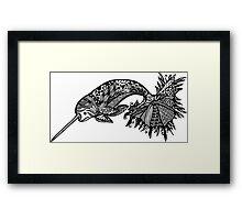 Sea Unicorn Black and White Doodle Art Framed Print