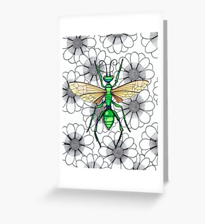 Metallic green insect on flowers Greeting Card