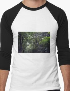 Forest background with many trees tops with green leaves. Men's Baseball ¾ T-Shirt