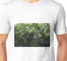 Forest background with many trees tops with green leaves. Unisex T-Shirt