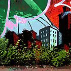 Old Montreal Mural with Grass Growing Over by michel bazinet