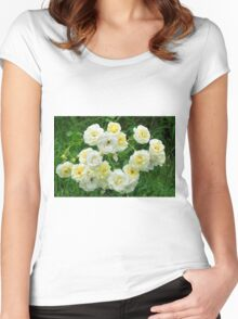 White roses in the garden. Women's Fitted Scoop T-Shirt