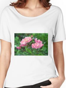 Pink small flowers, natural background. Women's Relaxed Fit T-Shirt