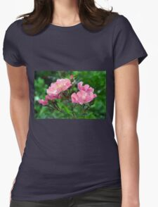 Pink small flowers, natural background. Womens Fitted T-Shirt