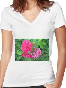 Pink roses and green leaves, natural background. Women's Fitted V-Neck T-Shirt