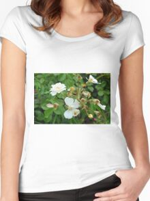 Small white delicate flowers and green leaves. Women's Fitted Scoop T-Shirt