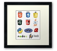 web developer programming lenguage set Framed Print