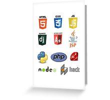 web developer programming language set Greeting Card