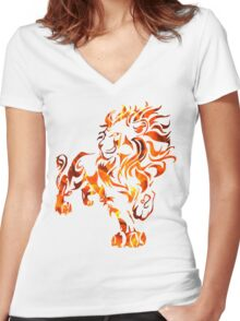 The Fire Lion Women's Fitted V-Neck T-Shirt