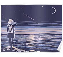 girl and the sunset sea Poster