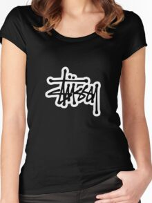 stussy #black Women's Fitted Scoop T-Shirt