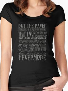 Edgar Allan Poe RAVEN typography Women's Fitted Scoop T-Shirt