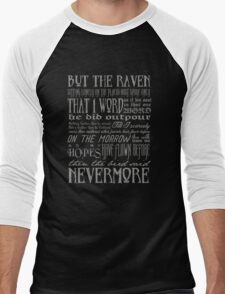 Edgar Allan Poe RAVEN typography Men's Baseball ¾ T-Shirt