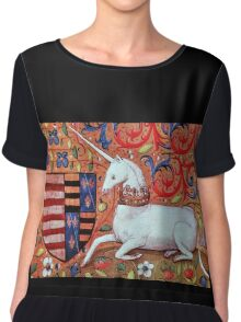 UNICORN WITH RED BLUE FLORAL MOTIFS Chiffon Top