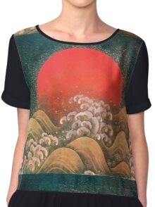 AMATERASU SUN GODDESS Red Black Brown Chiffon Top