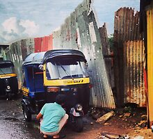 Rickshaw morning wash, Kohinoor, Mumbai, India by JCMM