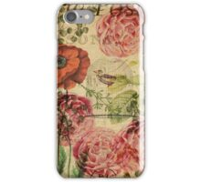 Vintage bohemian floral bird cage collage iPhone Case/Skin