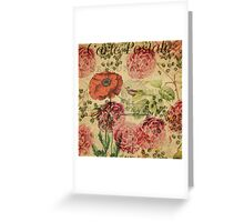 Vintage bohemian floral bird cage collage Greeting Card