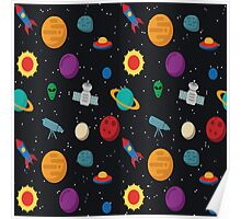 Funny Space Pattern Poster
