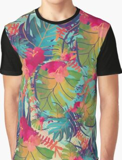Colourful Floral Pattern Graphic T-Shirt