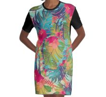 Colourful Floral Pattern Graphic T-Shirt Dress