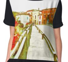 Fognano: view with vase with flowers Chiffon Top
