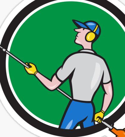 Gardener Hedge Trimmer Circle Cartoon Sticker