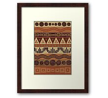 Boho Chic Tribal Leather Look Pattern Browns And Tans Framed Print