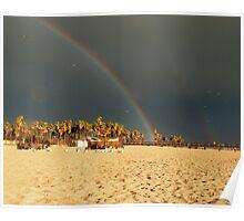 Double rainbow, Beach, photography, California, Seascape Poster