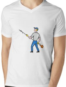 Gardener Hedge Trimmer Isolated Cartoon Mens V-Neck T-Shirt