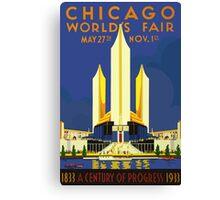 USA Chicago World Fair 1933 Vintage Travel Poster Canvas Print