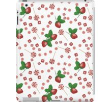 Strawberry lollipops, candy and chewing gum seamless pattern background texture iPad Case/Skin