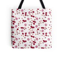 Cherry lollipops, candy and chewing gum seamless pattern background texture Tote Bag
